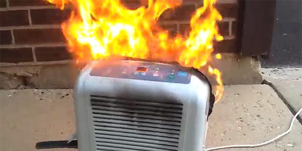 Recalled Dehumidifier on Fire